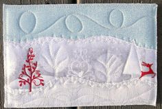 Handmade Fabric PostcardQuilted Greeting Card Winter by SewUpscale