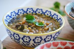 Garlicky lentil soup with Swiss chard and lemon. Dressed up rushta.