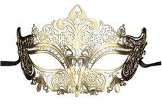 Amazon.com: Luxury Mask Women's Laser Cut Metal Venetian Crown Mask, Gold/Clear Stones, One Size: Clothing