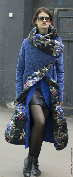 Пальто СOZY QUILTED BLUE FLOWERS - Sasha Fi - Ярмарка Мастеров http://www.livemaster.ru/item/14608215-odezhda-palto-sozy-quilted-blue-flowers: