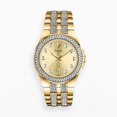 Bulova Watch - Women's Crystal Gold Tone Stainless Steel - 98M114