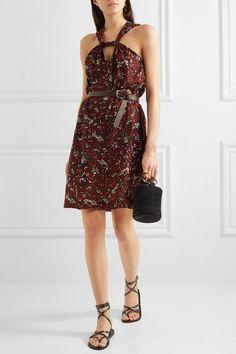 Étoile Isabel Marant - Aba Printed Cotton-voile Mini Dress - Burgundy - FR