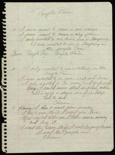 Prince's hand written lyrics to Purple Rain! <img src=