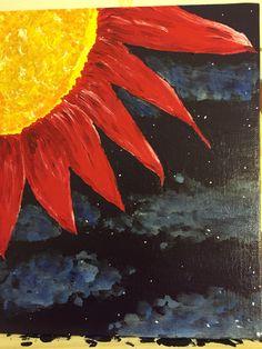 "Starlight in the Garden. Original painting - acrylic on canvas board 8""x10"". For sale in my Etsy store.  https://www.etsy.com/shop/TheLegitimateGiraffe"