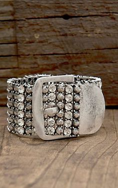 West & Co® Antique Silver with Rhinestones Buckle Bracelet | Cavender's Boot City