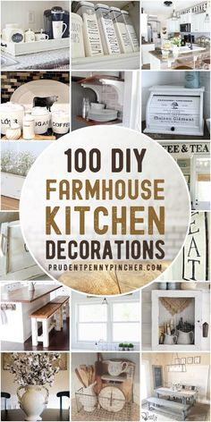 This collection of DIY farmhouse kitchen decor ideas will give you some inspiration for how to bring country charm into your kitchen on a budget. From wood trays and rustic signs, there are over a hundred different DIY farmhouse decor ideas here. Farmhouse Kitchen Diy, Country Farmhouse Decor, Kitchen On A Budget, Farmhouse Kitchen Decor, Country Charm, Country Kitchen Decorating, Farmhouse Signs, Vintage Farmhouse, Kitchen Ideas