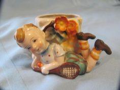 Vtg Occupied Japan Porcelain Little Boy w Tennis Figurine & Planter Hummel Like