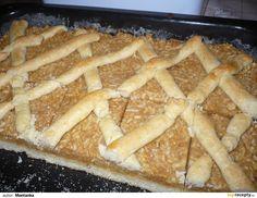 Suroviny na těsto zpracujeme. 1/3 těsta odřízneme a necháme stranou. Zbylé 2/3 vyválíme e přeneseme na vymazaný a vysypaný plech. Na těsto dáme... Apple Pie, Desserts, Food, Tailgate Desserts, Deserts, Essen, Postres, Meals, Dessert