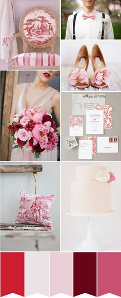 Totally in love with this inspiration board, and it's only even more amazing to see my photo as a piece :). #Pink #Wedding