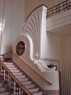 Staircase in rotunda. Burbank City Hall.