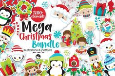 Huge Mega Christmas Bundle, over 90% OFF!Perfect for crafts, scrapbooking, decorations and so much more. Includes tons ofcharacters as well as matching icons and more.