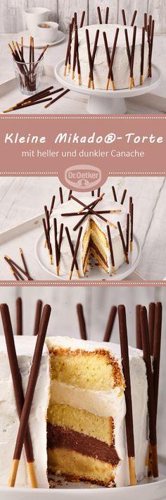 Kleine Mikado®-Torte: Kleine Torte aus lockerem Biskuit mit heller und dunkler Canache und Mikado®-Stäbchen