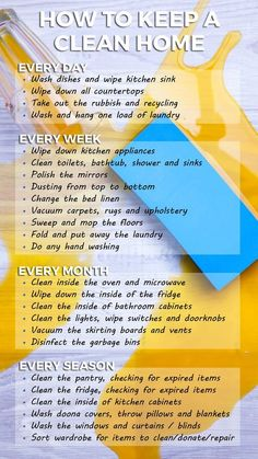9754aef9666 How to keep a clean home - handy planner and list. Cleaning tips
