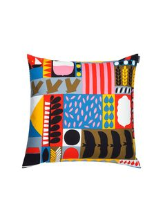 Add fun patterns to your home with this Tervapaasky cushion cover from Marimekko. With an eclectic vibrant print featuring abstract birds, houses and geometric patterns, this cushion cover is craft. Textiles, Textile Patterns, Textile Prints, Textile Design, Fabric Design, Pattern Design, Print Patterns, Fun Patterns, Geometric Patterns