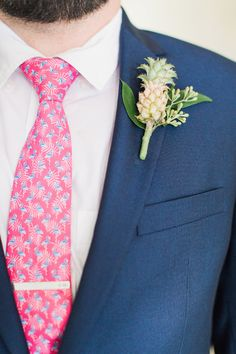 bright pink and blue groom's tie
