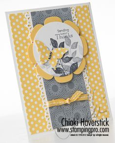 handmade card ... yellow, white and gray ... punched butterfly ... Summer silhouette leaves triple staped ... luv the yellow paper with white polka dots in the background and for the butterfly ... cheerful thank-you ...