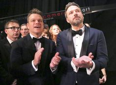 Matt Damon and Ben Affleck from 2017 Oscars: All-Access  Nearly 20 years after the Boston bros won their first Oscar for Good Will Hunting, they returned to the ceremony to present the same Original Screenplay prize to Manchester by the Sea writer/director Kenneth Lonergan.