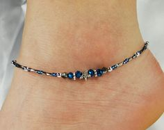 Anklet, Ankle Bracelet Star, Blue Crystal Donut, Gunmetal, Beaded Anklet, Celestial, Vacation, Beach, Cruise Minimalist Anklet Star Anklet