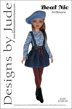 Beat Nic, the pattern includes a long sleeve top, mini skirt with straps, beret and tights.