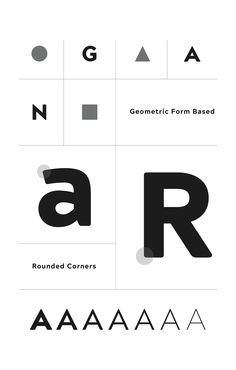 Sans serif based on geometric forms.