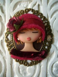 Polymer Clay Red Girl Brooch