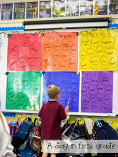 A day in first grade: A rainbow of writing - What a great way to teach students descriptive writing! Teaching Poetry, Teaching Language Arts, Teaching Writing, Teaching Tools, Kindergarten Poetry, Teaching Ideas, Writing Lab, Narrative Writing, Writing Ideas
