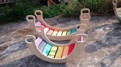 wooden rainbow rocker double rocker balancing board by Wiwiurka