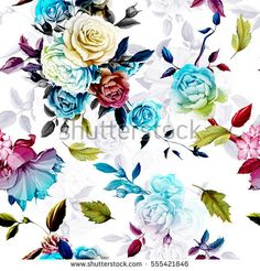 Roses and peony with leaves on white. Stylized. Watercolor, hand drawn. Seamless background pattern. Vector - stock.