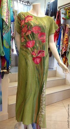Купить Маки Прованса платье батик, шелк,ручная роспись - Батик, дизайнерская одежда