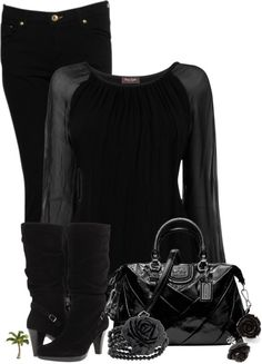 """All Black Contest"" by cindycook10 ❤ liked on Polyvore"