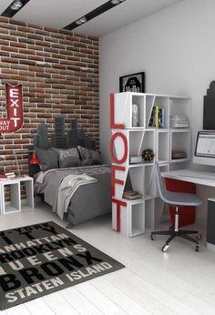 100 Quartos de Adolescentes com Fotos Inspiradoras! Boys Bedroom Decor, Trendy Bedroom, Diy For Kids, Corner Desk, Kids Room, Decoration, House, Furniture, Home Decor
