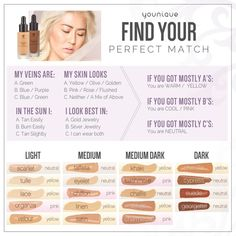 Younique Makeup Color Chart Younique Makeup Color Chart - Make Up Younique Foundation Shades, Touch Mineral Liquid Foundation, Foundation Tips, How To Match Foundation, Perfect Foundation, Flawless Foundation, Airbrush Foundation, Younique Mascara, Beauty Makeup
