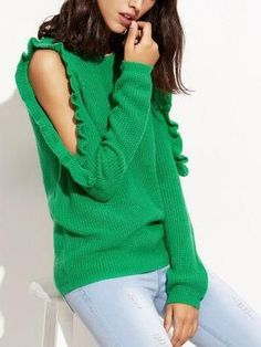 Black Frill Cold Shoulder Rib Trim Long Sleeve Sweater