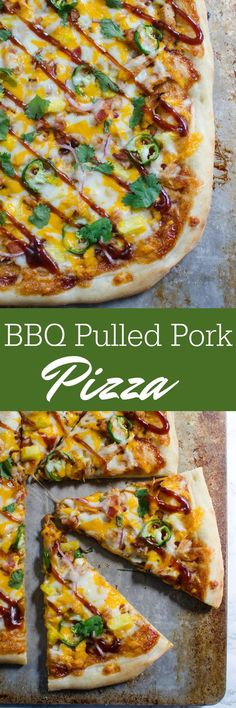 BBQ Pulled Pork Pizza recipe - delicious sweet and spicy pizza. Layers of barbecue sauce, pulled pork, jalapenos, pineapple, and lots of cheese!