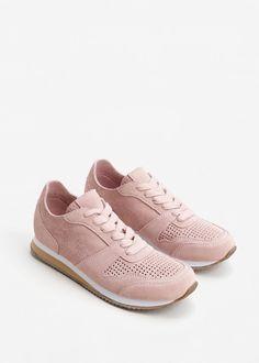 Laser-cut pattern leather sneakers -  Women | MANGO USA