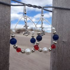 Red White and Blue Beaded Hoop Anchor Earrings on Etsy, $19.99