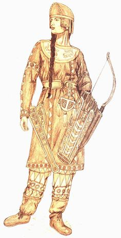 """""""They represented the equality as they fought along side their men in battlefields. In the current central Asia one could only find the traces of such equality.The act of war was one in which the Scythian women are said to have participated in equally with the men. Scythian women were tattooed like their mates, and the ancient historian Diordorus commented that Scythian women 'fight like the men and are nowise inferior to them in bravery'."""""""