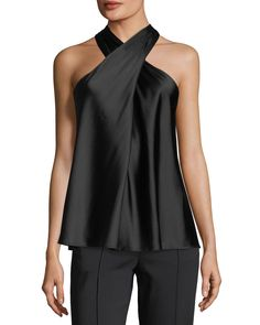 Arvid+Sleeveless+Halter+Silk+Satin+Top+by+A.+at+Bergdorf+Goodman. Satin Top, Silk Satin, Silk Top, Top Mode, Mode Outfits, Mode Style, Party Fashion, Mannequins, Casual Chic
