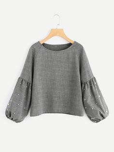 Shein Lantern Sleeve Pearl Beaded Blouse - Women's style: Patterns of sustainability Muslim Fashion, Hijab Fashion, Girl Fashion, Fashion Outfits, Mode Abaya, Mode Hijab, Dress Shirts For Women, Blouses For Women, Blouse Styles