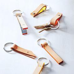 DIY monogrammed leather keychains // via Martha Stewart