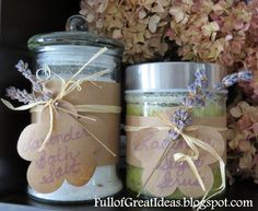 DIY Scented Bath Salts- very easy and inexpensive gift idea