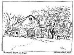 farm scenes coloring page   farm life - farm barn and silo ... - Barns Coloring Pages Farm Silos