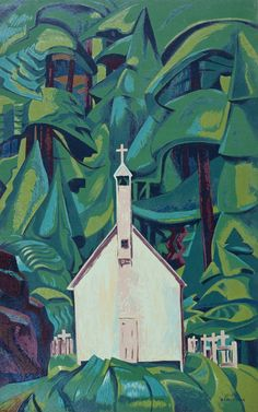 "Emily Carr: ""Indian Church"" ( I have a reproduction of this)   Saw the exhibit of many of Emily Carr's paintings at the ago in Toronto  Incredible"