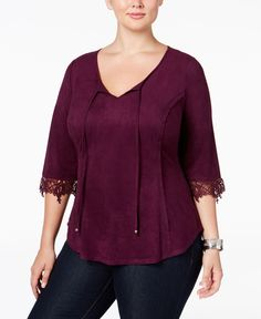 Ny Collection Plus Size Faux-Suede Peasant Top