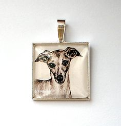 Unique Silver Plated Whippet Dog Art Glass Tile by artbyeliza,