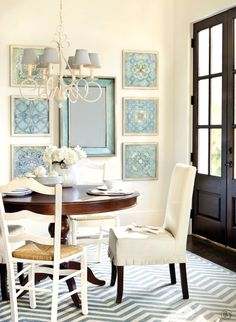 Cream and blue dining room