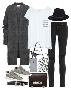 """Inspired outfit with a acne cardigan"" by whathayleywore ❤ liked on Polyvore featuring rag & bone, Acne Studios, Zara, Proenza Schouler, adidas, B-Low the Belt and Yves Saint Laurent"