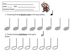 THIS is a great assessment tool for Quarter Notes and Half Notes.Students practice drawing those notes. Wonderful For Music Substitutes! Music Education Activities, Teaching Resources, Teaching Ideas, Piano Lessons, Music Lessons, Music For Young Children, Music Theory Worksheets, Piano Teaching, Elementary Music