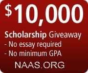 Monthly scholarship give-aways  by National Academy of American Scholars.