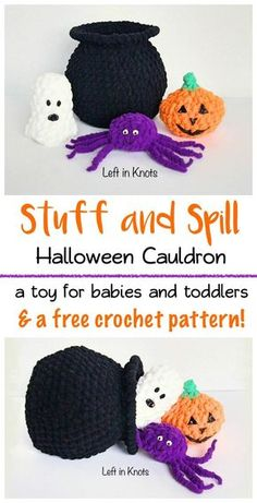 This free crochet pattern will show you how to make this adorable stuff and spill pattern perfect for creative baby and toddler play!  Get your littlest monsters excited for Halloween with the friendly ghost, pumpkin and spider.  Use Bernat Blanket yarn to make this toy plush and durable.